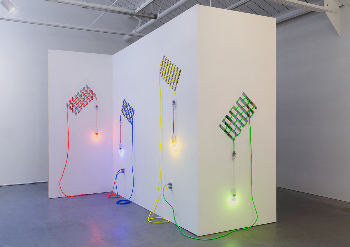 Dana Hemenway, 'Untitled (Drywall Weave),' 2016. Lasercut drywall, wood, cords, custom fixtures, colored compact fluorescent light bulbs; installed at Eleanor Harwood Gallery.