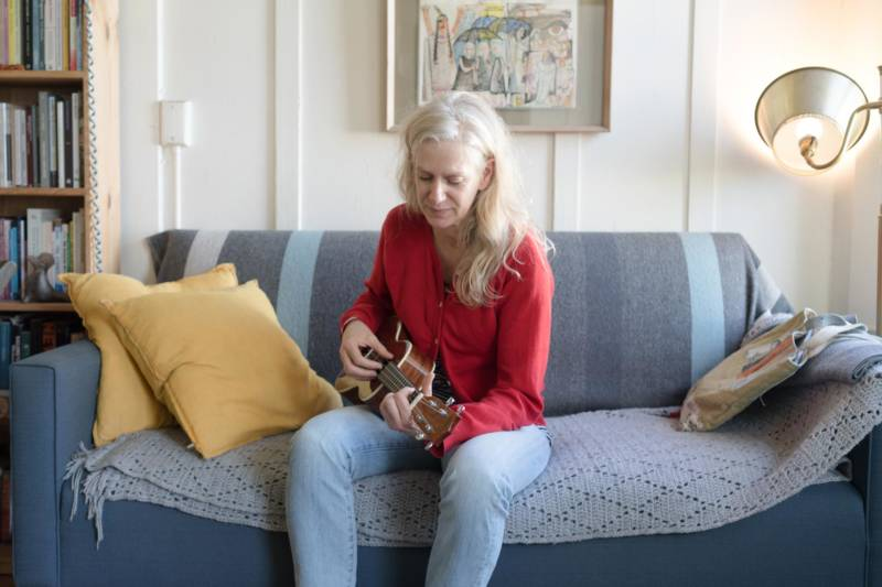 Beth Wilmurt at home in San Francisco with her ukelele.