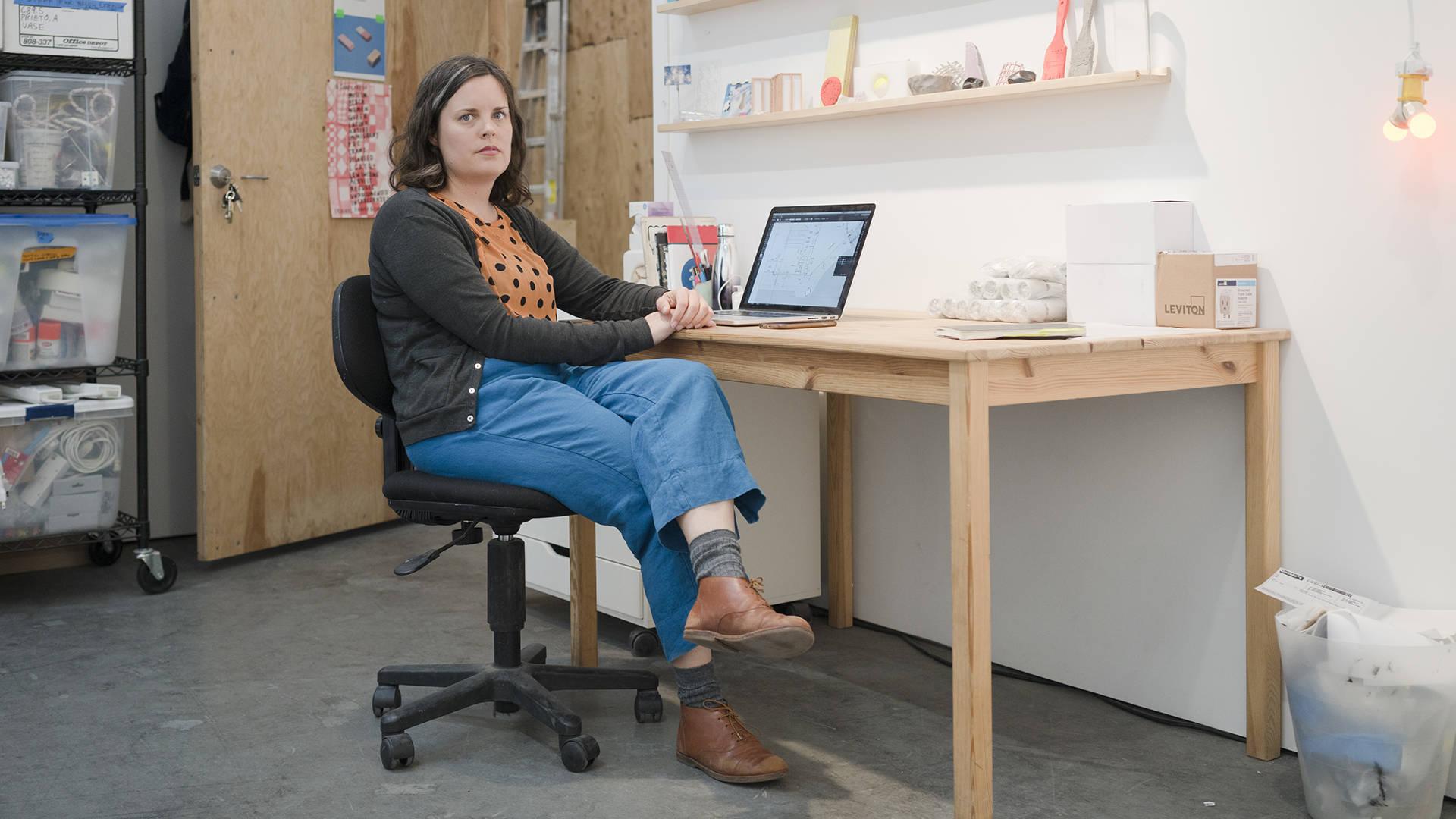 Dana Hemenway inside her Minnesota Street Project studio. Graham Holoch / KQED