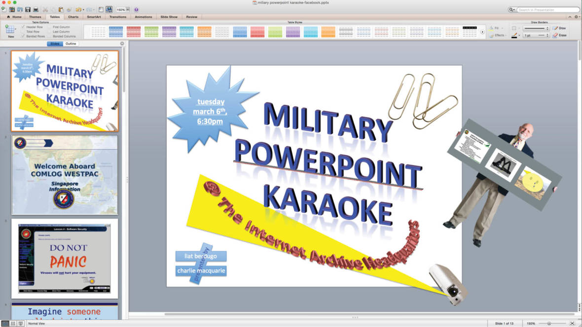no singing involved in the internet archives first ever military powerpoint karaoke courtesy of the internet archive