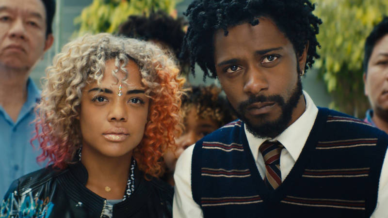 Tessa Thompson and Lakeith Stanfield in 'Sorry to Bother You.'
