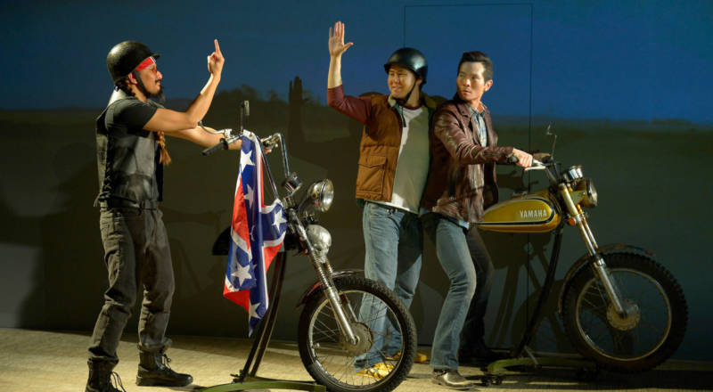 Quang (James Seol) and best friend Nhan (Stephen Hu) get into a ruckus with a redneck (Jomar Tagatac).