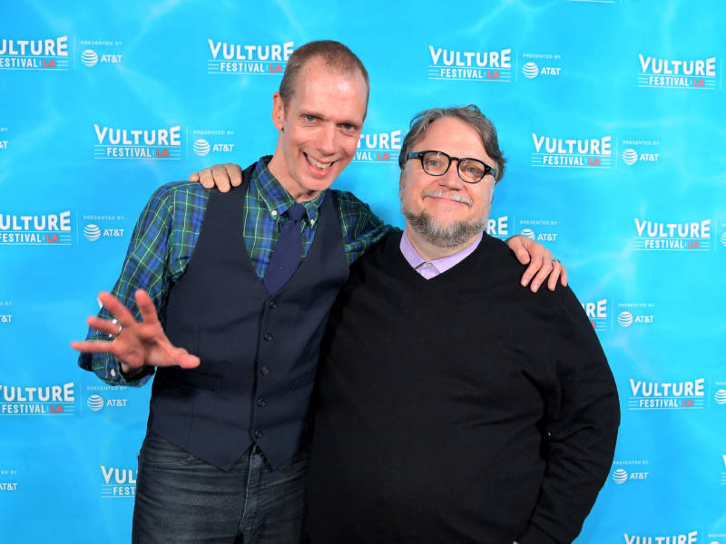 Actor Doug Jones, left, and director Guilermo del Toro attend the Vulture Festival LA Presented by AT&T in November. The two have worked together on a number of movies, including 'Pan's Labyrinth' and 'The Shape of Water.'