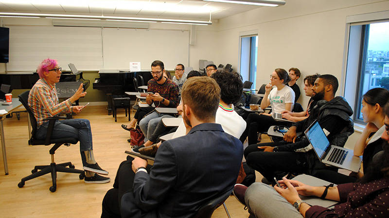 Producer John Vanderslice giving a guest lecture at SFCM.
