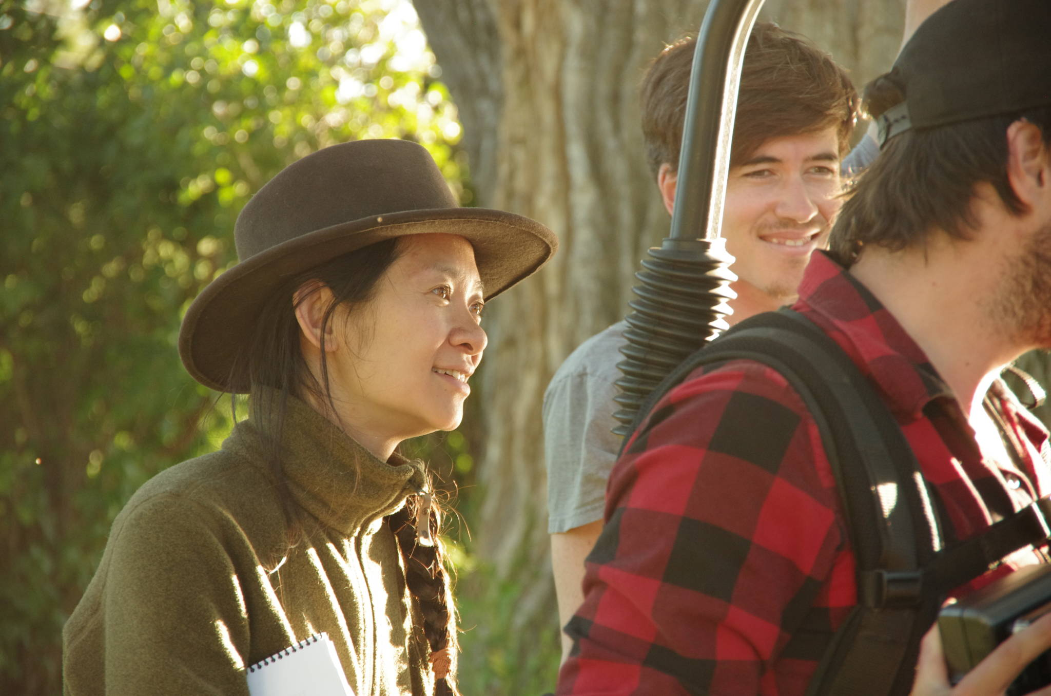 Writer/director Chloé Zhao on the set of 'The Rider.'