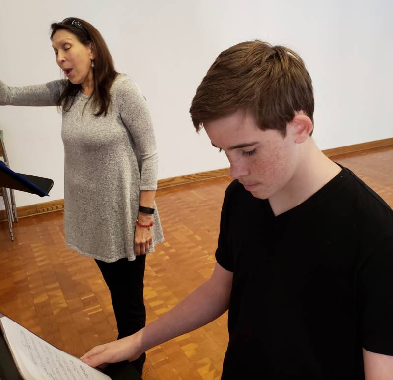 Suzanna Guzman and Nicholas McKee rehearse ahead of Bless Me, Última's open in San Jose later this month.