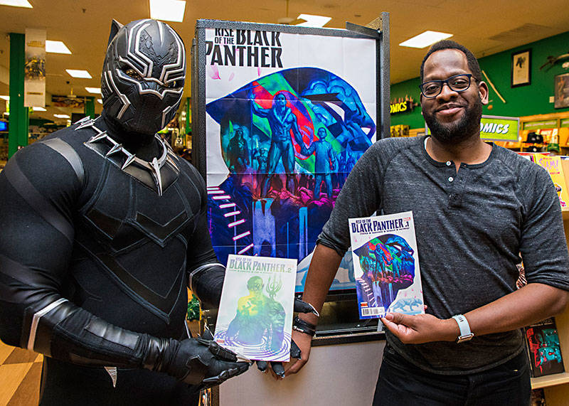 Evan Narcisse will probably be busy getting autographs at the Silicon Valley Comic Con, when he isn't busy giving then to Black Panther fans.