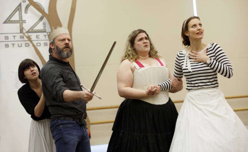 Alexandra Socha as Philoclea, Jeremy Kushner as Basilius, Bonnie Milligan as Pamela and Rachel York as Gynecia in a rehearsal for 'Head Over Heels'