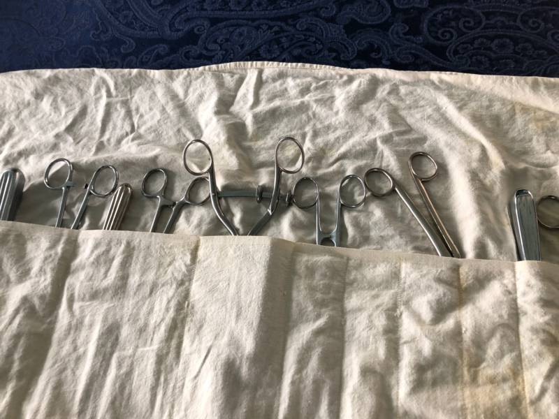 A collection of medical instruments that once belonged to Inez Burns.