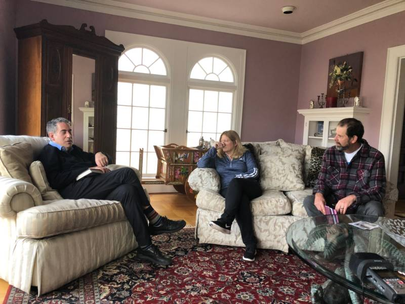 Author Stephen Bloom shares his knowledge of Inez Burns with Jeff and Diane Cerf. The Cerfs are the present owners of the mansion that once belonged to Burns.