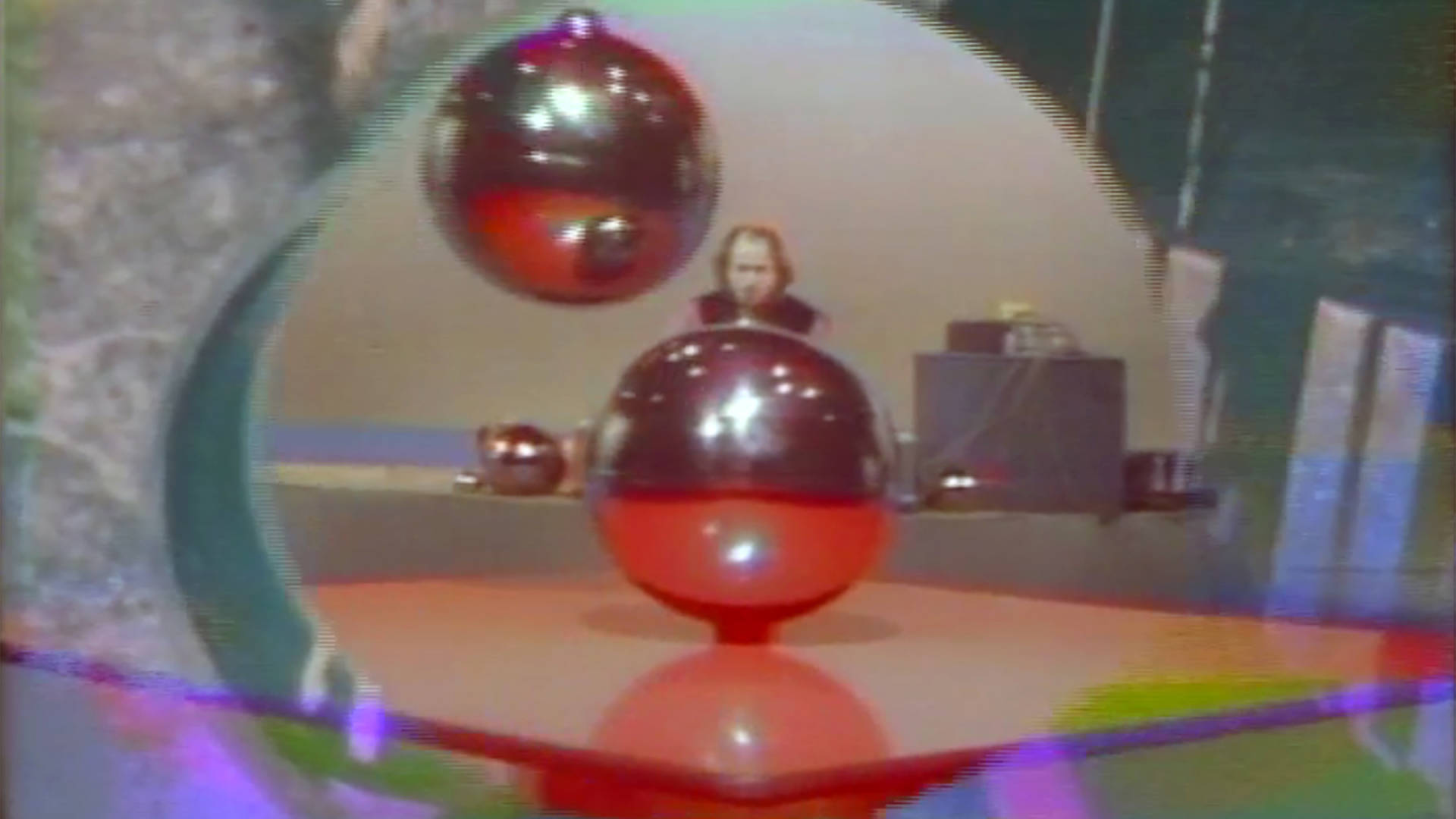 Terry Riley & Arlo Acton, Still from 'Music with Balls,' c. 1968-1969. Courtesy of the UC Berkeley Art Museum and Pacific Film Archive