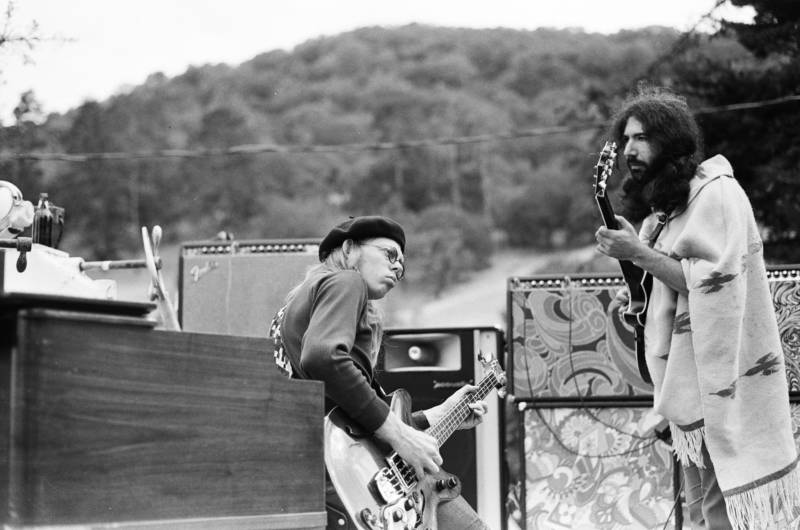 Jack Casady and Jerry Garcia playing music at Olompali, the Marin commune that's the subject of a new documentary, 'Olompali: A Hippie Odyssey.'