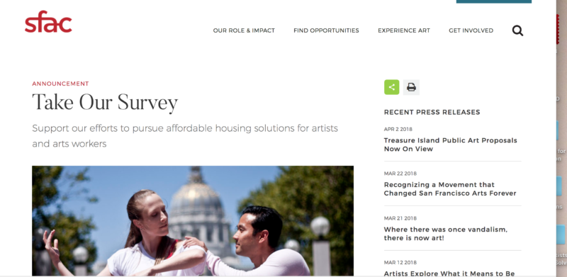 Part of the front page of the San Francisco Arts Commission's online artists' survey.