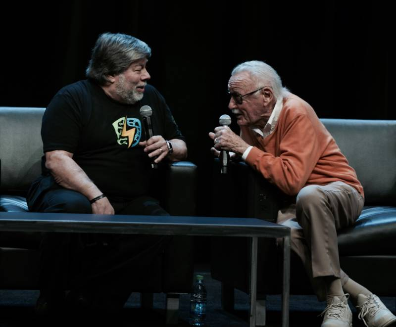 Steve Wozniak and Stan Lee, two accomplished giants, one in technology, the other in science fiction, geek out at the Silicon Valley Comic Con.