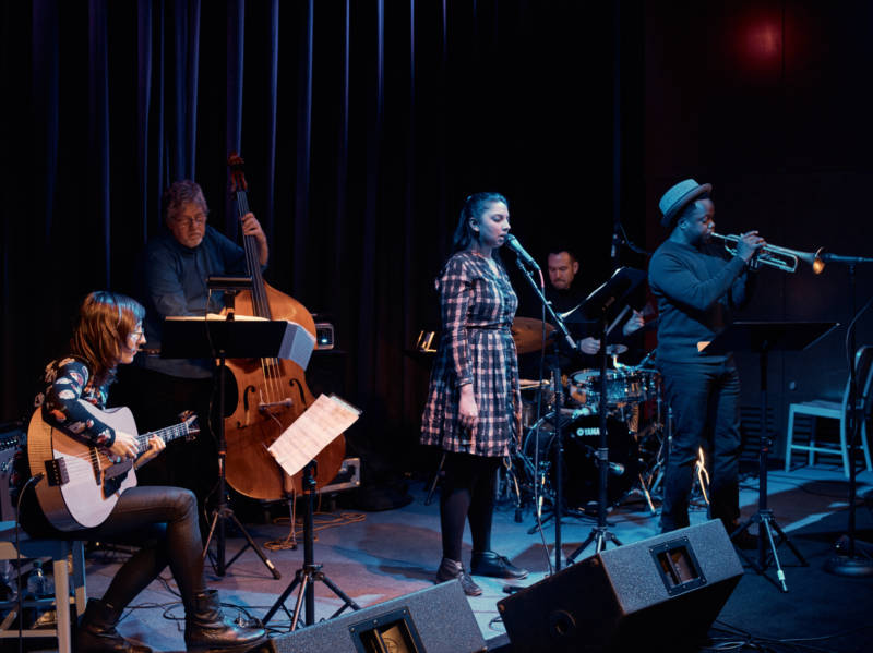 Halvorson rehearses with the 'Code Girl' band: bassist Michael Formanek, singer Amirtha Kidambi, drummer Tomas Fujiwara and trumpeter Ambrose Akinmusire.