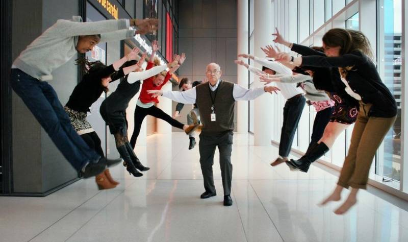 asell unleashes his powers in the lobby of NPR's headquarters in Washington, D.C.