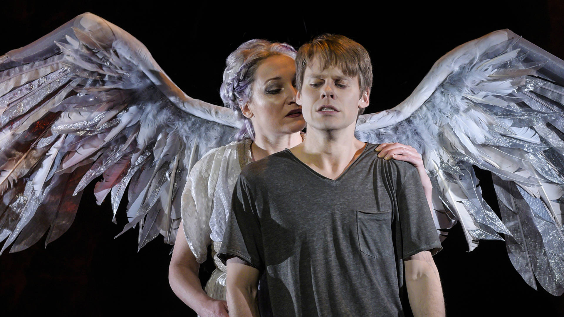 (l to r) Francesca Faridany (The Angel) and Randy Harrison (Prior Walter) in Berkeley Repertory Theatre's production of 'Angels in America, Part Two: Perestroika.' Kevin Berne/Berkeley Repertory Theatre