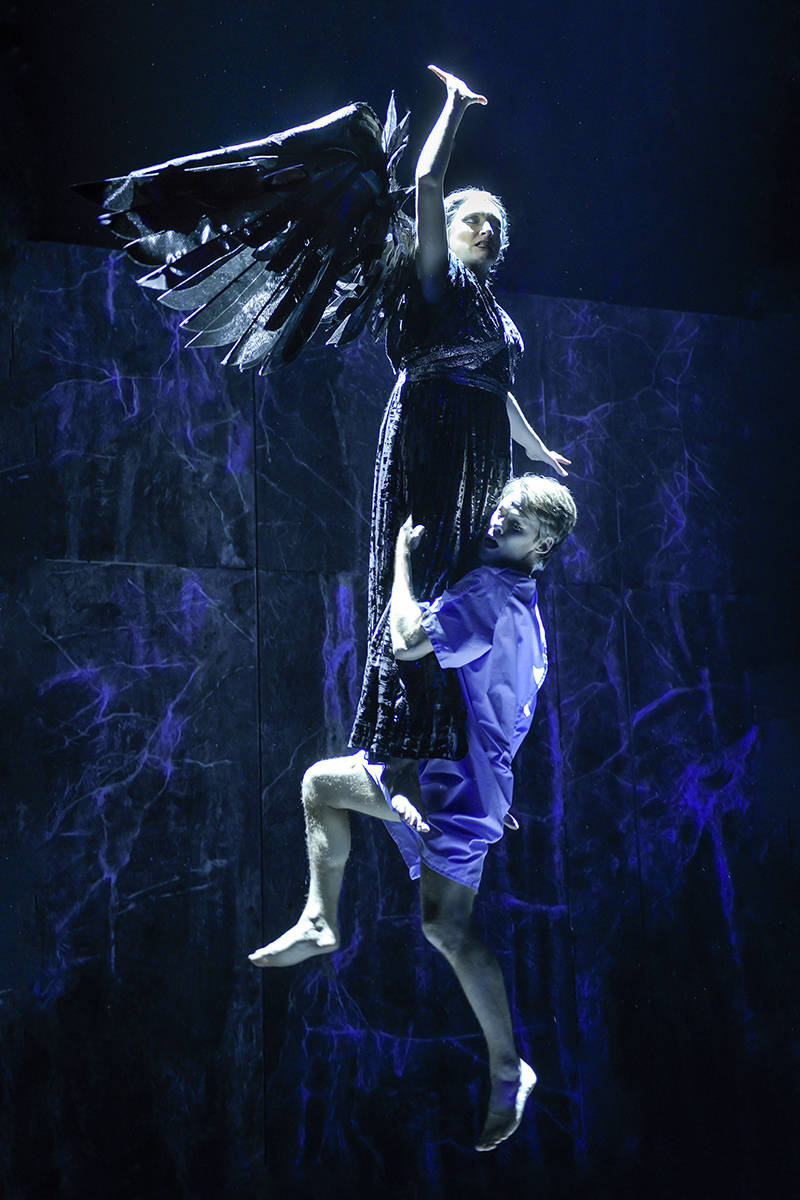 Francesca Faridany (The Angel) and Randy Harrison (Prior Walter) in Berkeley Repertory Theatre's production of 'Angels in America, Part Two: Perestroika.'