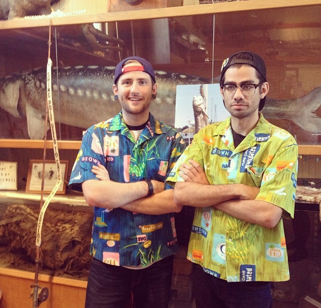 Dudes showing off sweet Hawaiian shirts found at the Crockett Museum