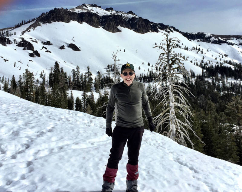 Cy Musiker in snowshoes, above Donner Pass.