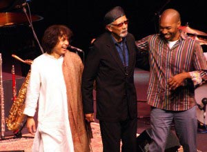 Zakir Hussain, Charles Lloyd and Eric Harland at the Healdsburg Jazz Festival.