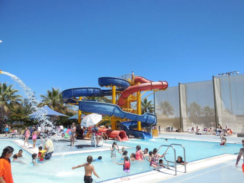 The Morgan Hill Aquatics Center and its huge water slides