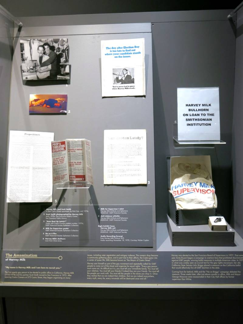 GLBT museum display case showing spot where Milk's iconic bullhorn usually sits.