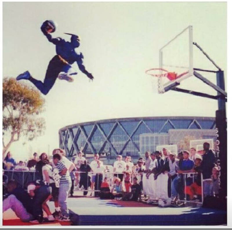 Thunder hitting a dunk for the fans outside the arena, 1990s.
