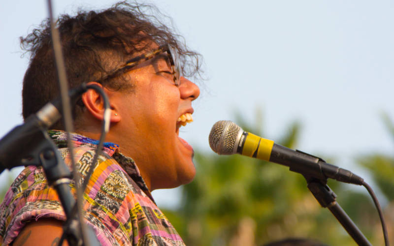 Sister Mantos vocalist Oscar Miguel Santos performs at Second Annual Sonido Clash Festival, September 3, 2017.
