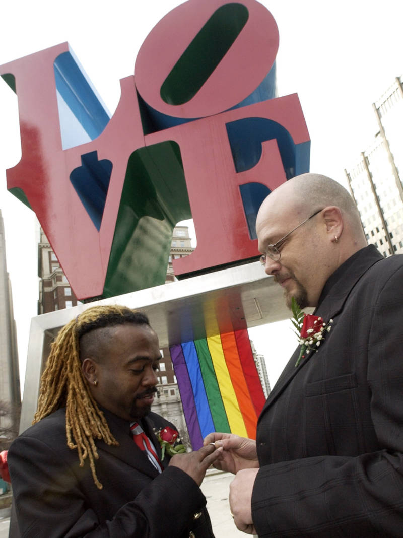 In 2004, the Rev. Jeffrey Jordan, left, and David Pickett exchanged vows at a same-sex commitment ceremony in Philadelphia's LOVE Park -- officially known as John F. Kennedy Plaza
