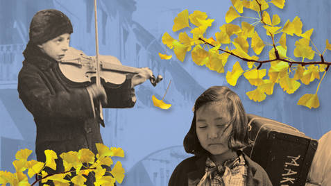 """Publicity art for """"Voices of Witness"""", a concert of new works honoring victims of the Japanese prison camps during the World War II at the San Francisco Conservatory of Music."""