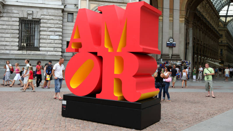 "A Robert Indiana installation of ""AMOR"" on exhibit in Piazza della Scala in Milan, Italy, in 2008"