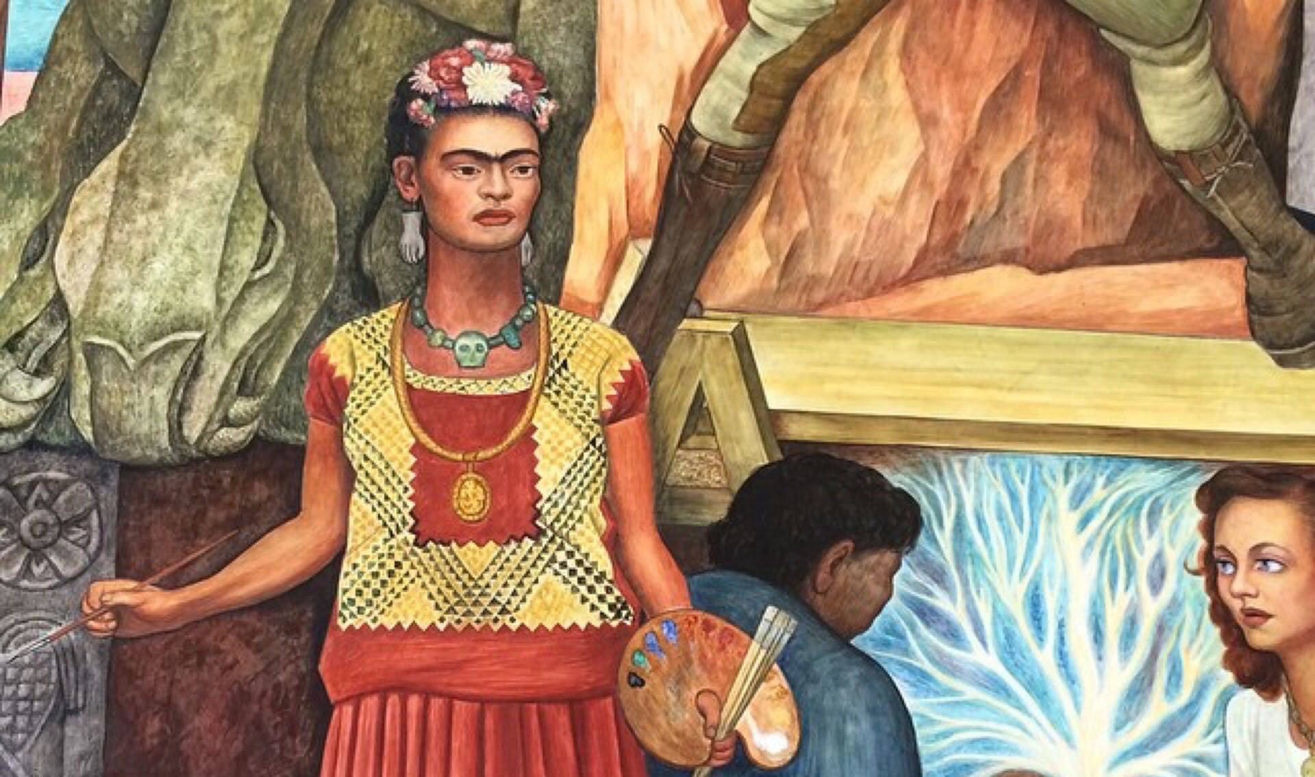 A detail of Diego Rivera's 'Pan American Unity' mural featuring Frida Kahlo on view at City College of San Francisco.  Shannon Badiee / Instagram