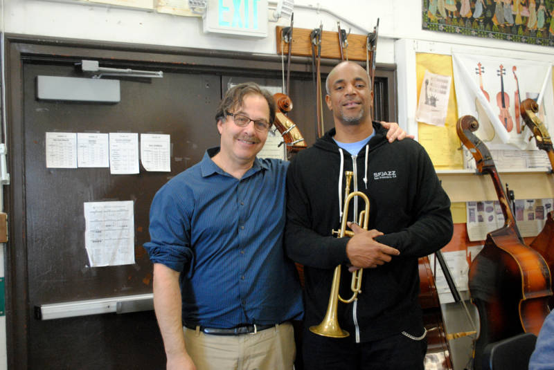 Band teacher Randy Porter and visiting artist Christopher Clarke, who teaches at Westlake Middle School thanks to SFJAZZ' Jazz in Session initiative.