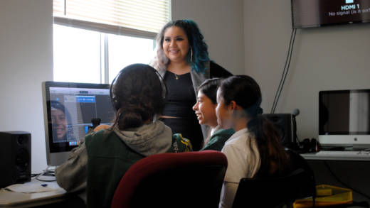 Women's Audio Mission instructor Victoria Farjado leads a Girls on the Mic class at WAM's Oakland location.