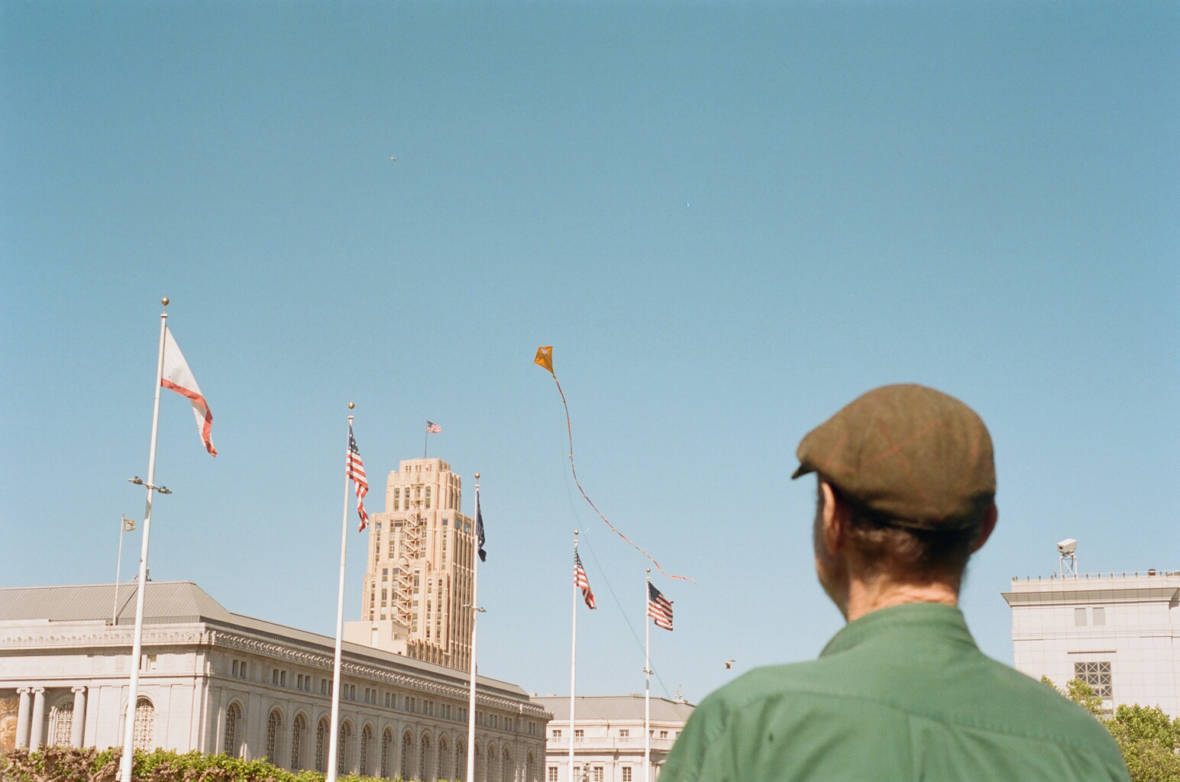 Jeff Marshall, Tenderloin resident and kite maker, flies one of his creations at Civic Center Plaza.   Samantha Shanahan/KQED