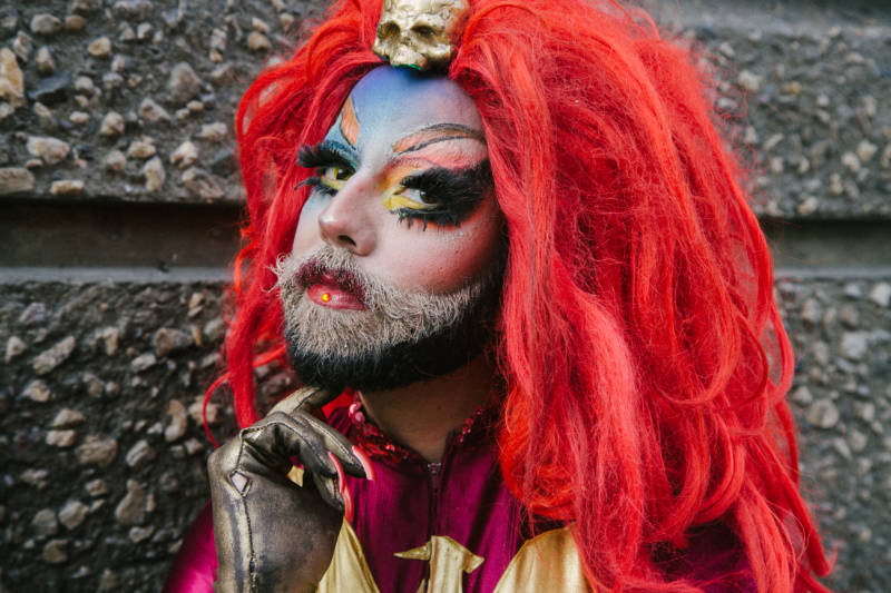 Drag queen Trangela Lansbury embraces her beard as part of her gender-bending look.