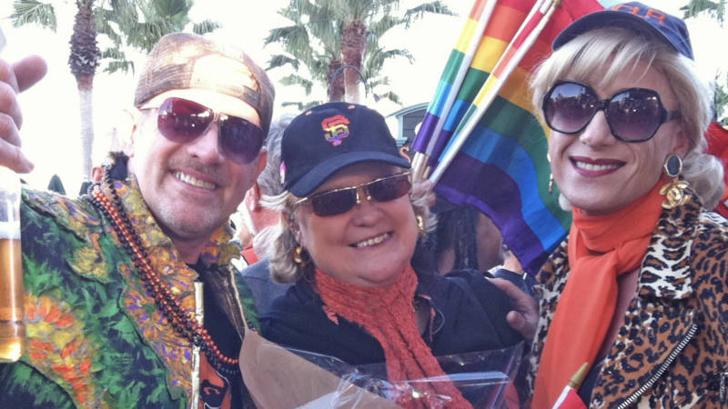 SF Bay Times publisher Betty Sullivan (center), surrounded by LGBTQ leaders Gary Virginia and Donna Sachet