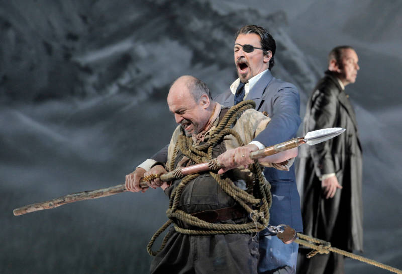 Falk Struckmann as Alberich as Greer Grimsley as Wotan in Wagner's 'Das Rheingold.'