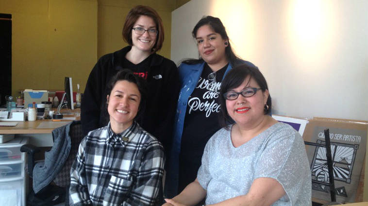 Ani Rivera, bottom right, with Galería de la Raza'a curatorial staff in 2016.