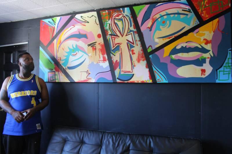 Jamaica the Artist in his deep East Oakland studio.