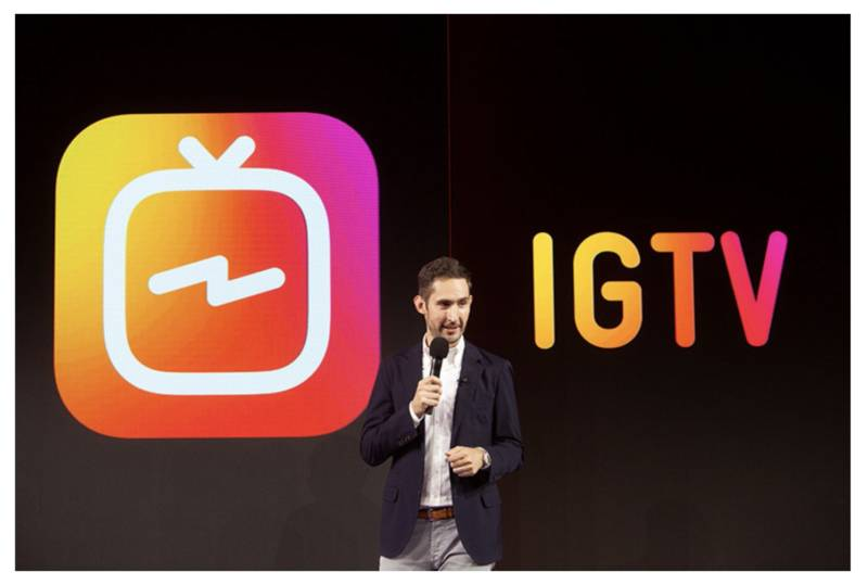 Instagram CEO Kevin Systrom unveiling IGTV in San Francisco.