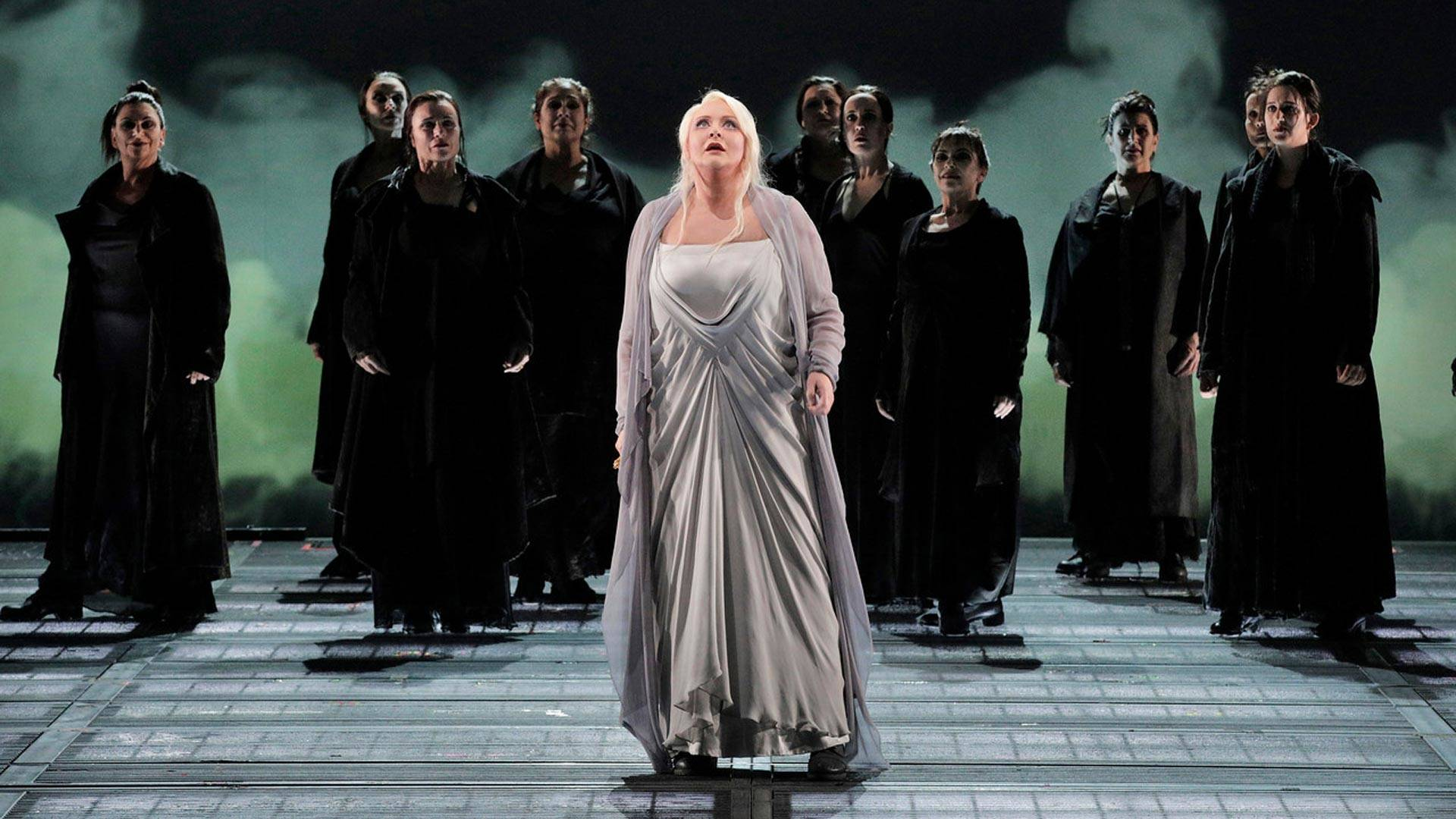Iréne Theorin as Brünnhilde and members of the San Francisco Opera Chorus in Wagner's 'Götterdämmerung.' Cory Weaver/San Francisco Opera