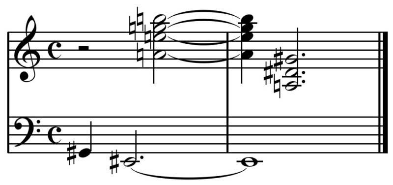 "The ending of Schoenberg's 'George Lieder' Op. 15/1 presents what would be an ""extraordinary"" chord in tonal music, without the harmonic-contrapuntal constraints of tonal music."