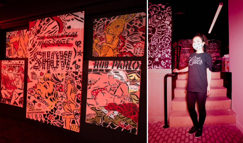 Left: AIKO's red-light district room is filled with erotic, comic book-like images. Right: AIKO (pictured) has shown her work in Rome, Shanghai and New York, where she's now based.