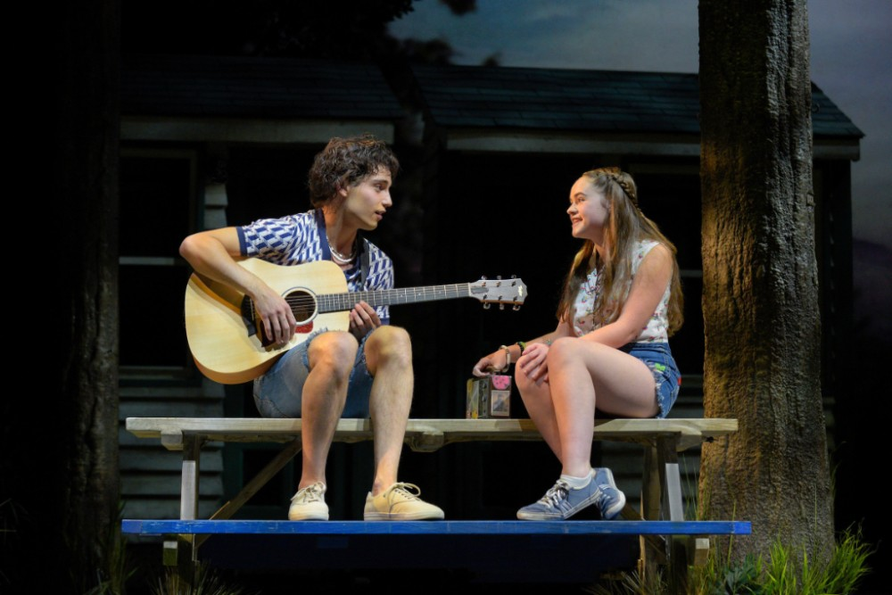 Alison (Brigid O'Brien) and Ross (Nick Sacks) flirt while discussing their favorite musicians in 'A Walk on the Moon.'