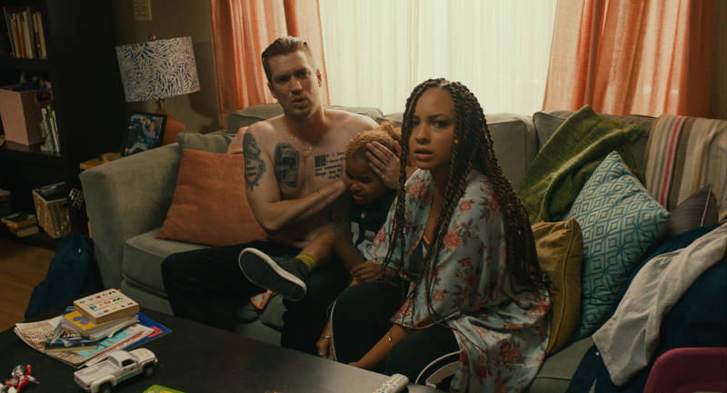 Rafael Casal as Miles, Ziggy Baitinger as Sean and Jasmine Cephas Jones as Ashley in 'Blindspotting.'
