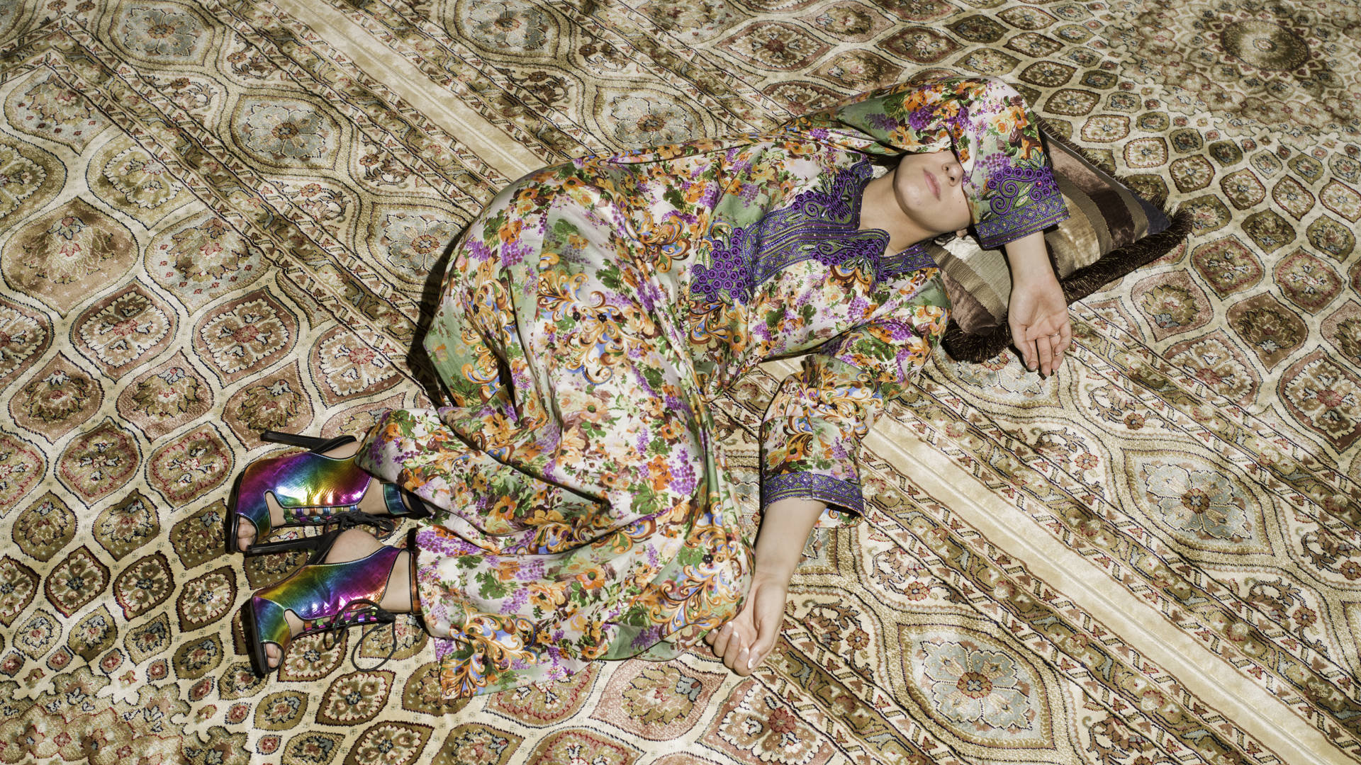 Farah Al Qasimi, 'M Napping on Carpet' (detail), 2016. Courtesy of the Artist, Helena Anrather (New York), and The Third Line (Dubai)