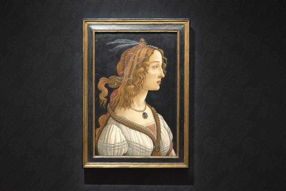Installation view of Sando Botticelli, 'Idealized Portrait of a Lady (Portrait of Simonetta Vespucci as Nymph),' ca. 1475.