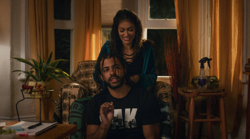 Collin (Daveed Diggs) and Val (Janina Gavankar) in 'Blindspotting.'